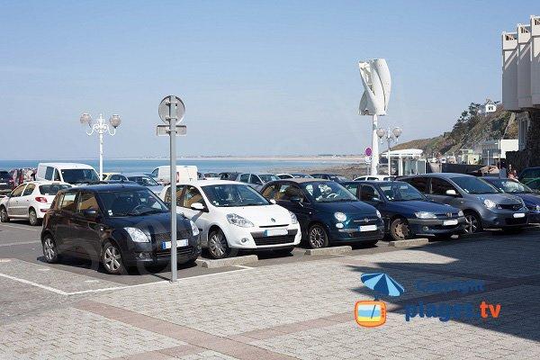 Parking of Plat Gousset beach in Granville