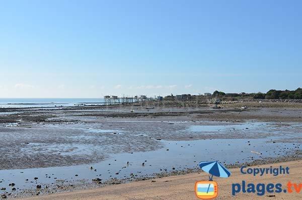 Pêcheries sur la plage de Platère - Angoulins