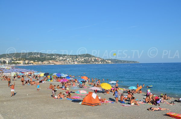 Public and private beach of Poincare in Nice - France
