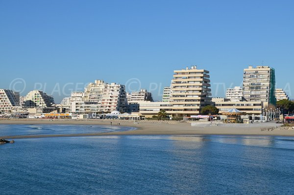 Photo of the beaches downtown of the Grande Motte in France