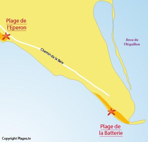 Carte plage de la Pointe de l'Aiguillon en Vendée - Aiguillon sur Mer