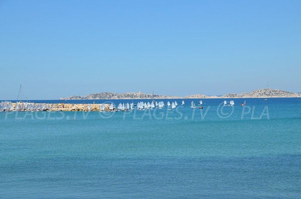 Ile Frioul view from Pointe Rouge beach - Marseille