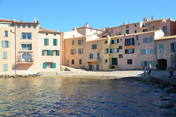 Photo of the beach in St Tropez harbor-side