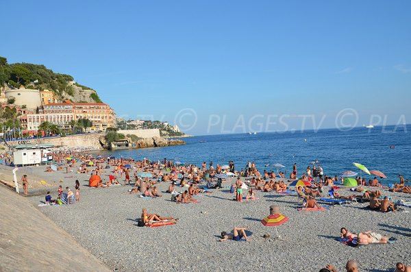 Ponchettes beach in summer in Nice