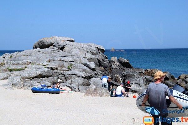 Zones rocheuses sur la plage de Porsmeur à Plouescat