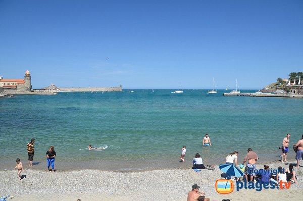 Plage de Port d'Avall et vue sur la baie de Collioure