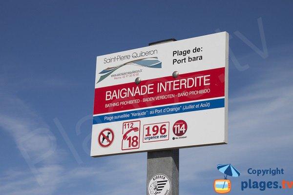 Plage de Port Bara - Baignade interdite