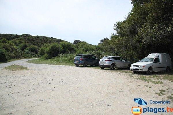 Parking de la plage de Port Fouquet à Belle Ile