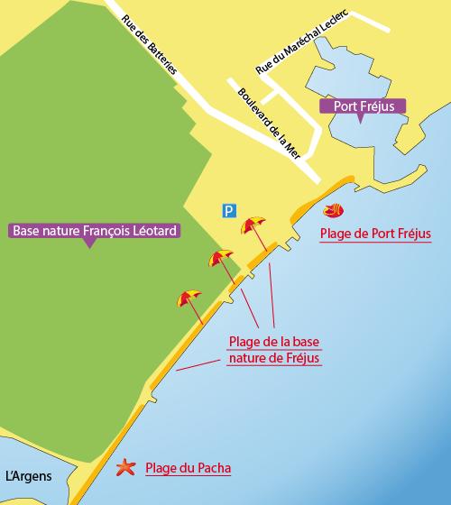 Carte de la plage de Port Fréjus