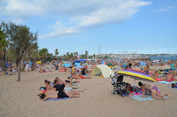 Beach of Port Fréjus in summer