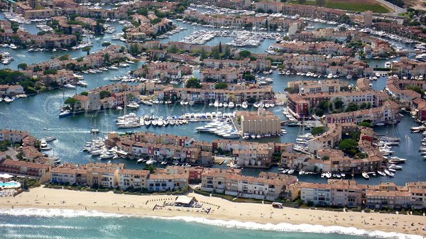 Aerial view of Central beach of Port Grimaud