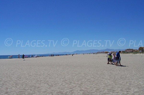 Long sandy beach in Port Leucate in France