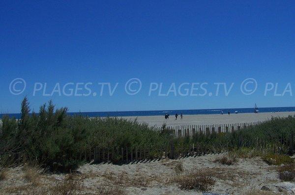 Port Leucate beach from pedestrian promenade