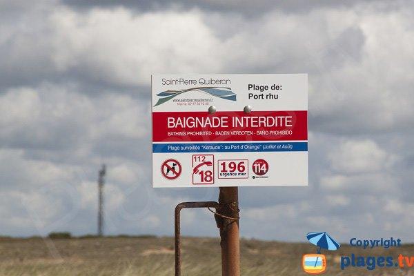 Baignade interdite à Port Rhu à St Pierre Quiberon
