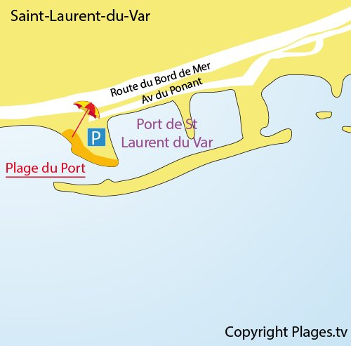 Map of Port Beach in St Laurent du Var