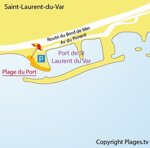 Mappa della Spiaggia del Porto di Saint Laurent du Var