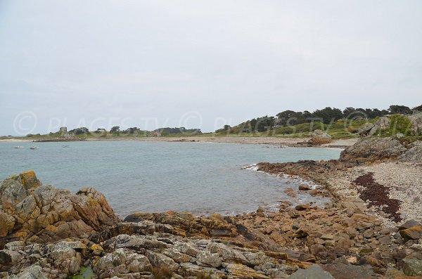 Photo de la plage de Poul Stripo et vue sur le Gouffre de Plougrescant