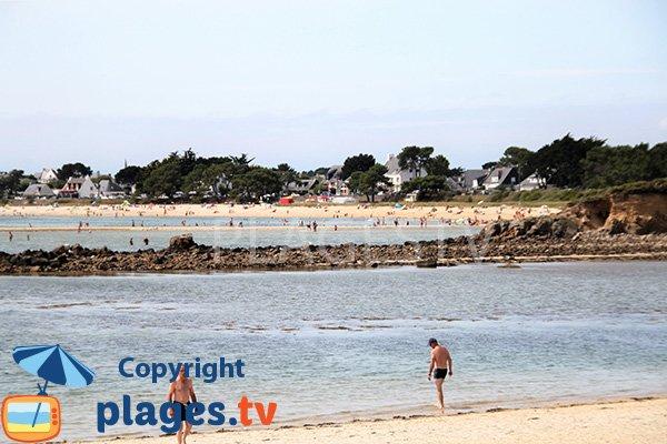 Vue sur la plage de Carnac depuis la plage de Poulbert