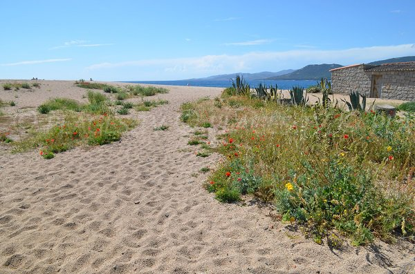 Accès à la plage du Puraja à Propriano