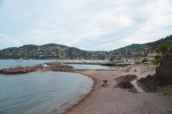 Stone beach in Rague harbor in Mandelieu