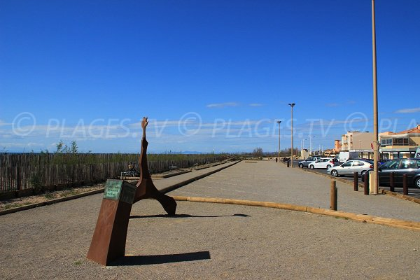 Parking of La Redoute beach in Portiragnes