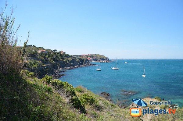 Vue sur la côte de Collioure depuis l'anse de Reguers