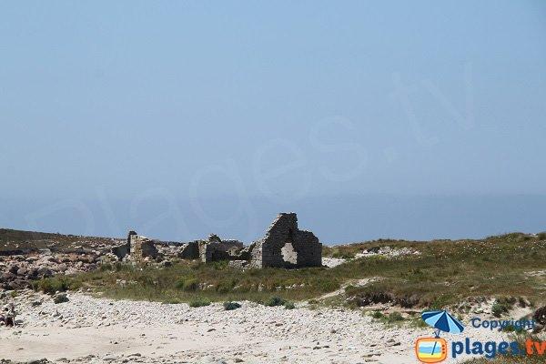Ruines des anciennes maisons de granitiers sur l'ile grande - Bretagne