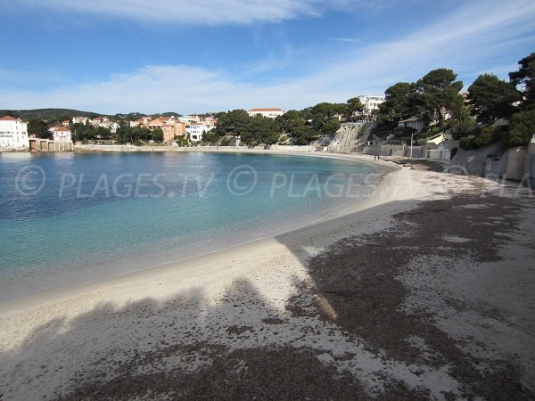 Public beach in the center of Bandol in France