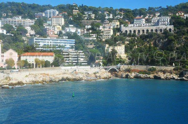 Photo de la plage de la Réserve de Nice vue depuis la mer