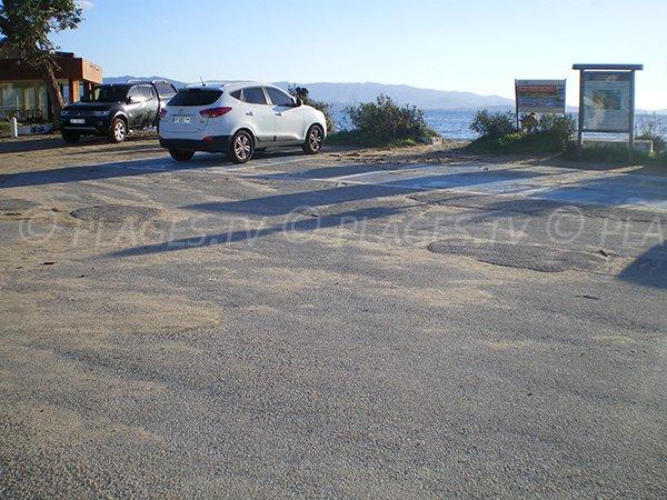 Parking of Ricanto beach in Ajaccio