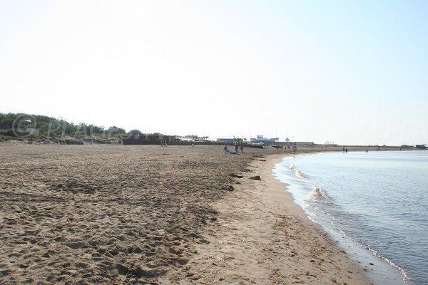 Plage de Richelieu avec vue sur le centre nautique du Cap d'Agde