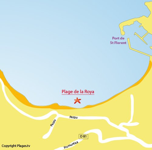 Map of Roya Beach in St Florent in Corsica