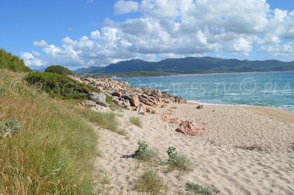 Extrémité de la plage du Ruesco en Corse