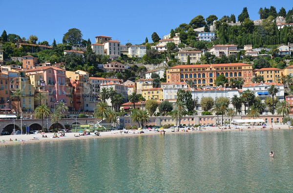 Sablettes beach in summer in Menton