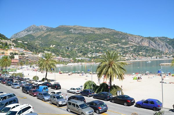 Car park and beach of Sablettes in Menton