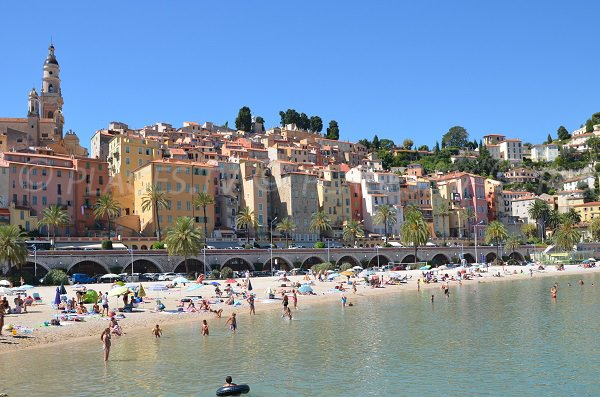 View of the old town of Menton from the beach