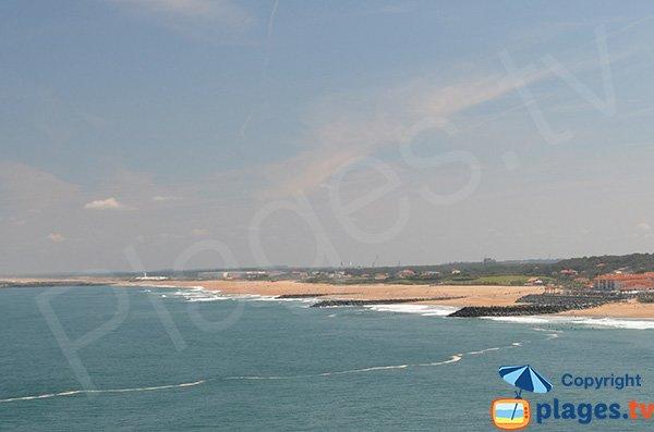 Vue sur la plage des Sables d'Or d'Anglet depuis Biarritz