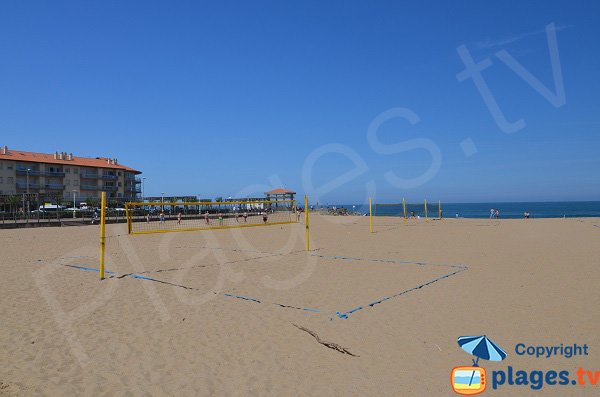 Volleyball court on the Sables d'Or beach in Anglet
