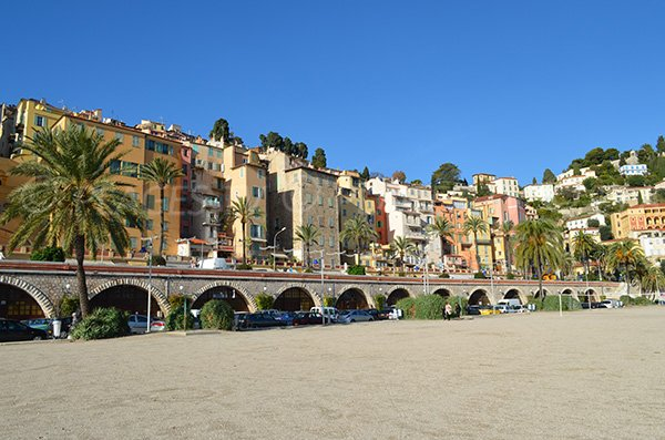 Old town and beach of Menton - France