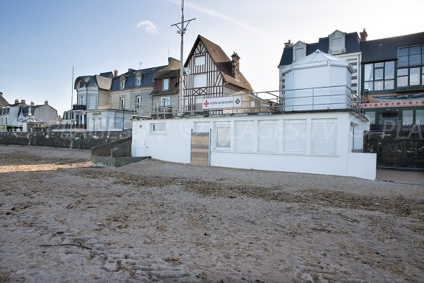 Rescue station at the beach of St Aubin