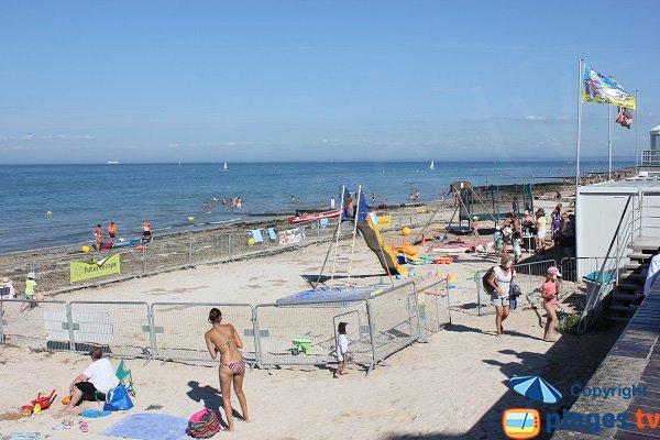 Beach club on the beach of St Aubin in Normandy