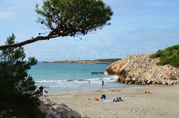 Photo de la plage de Ste Croix avec vue sur le phare du Cap Couronne