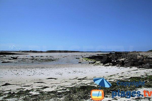 Plage de Sainte Marguerite à marée basse à Landéda