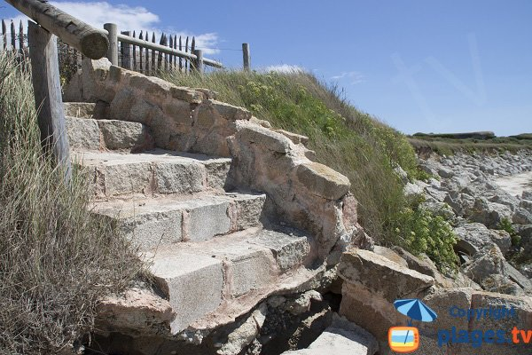 Stairs of Saisies beach in Gavres
