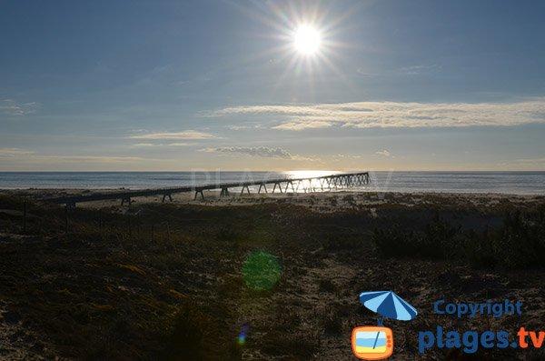 Wharf sur la plage entre Pyla et Biscarrosse