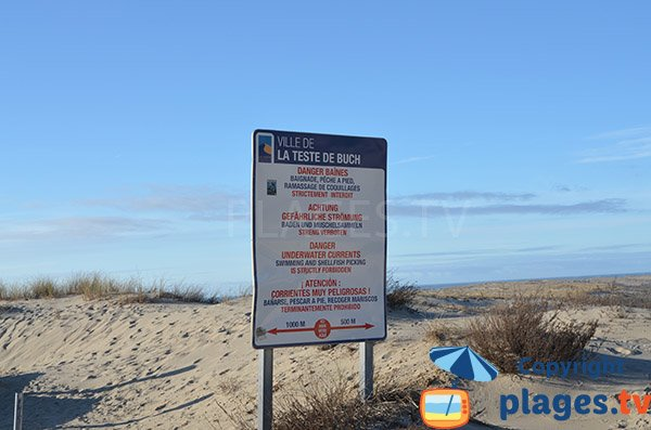 Interdiction sur la plage Salie sud