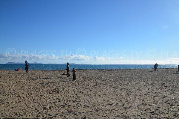 Salins beach in Hyères with Porquerolles view