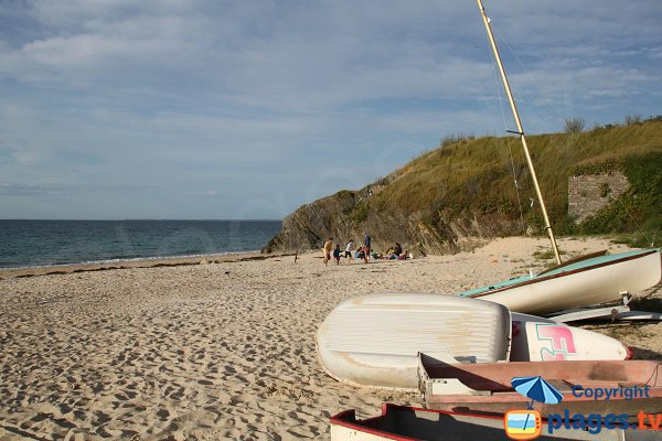 Boats on Samzun beach in Belle Ile in France