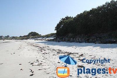 Plage de Santec de sable blanc avec des dunes