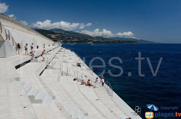 Solarium beach in Monaco during summer